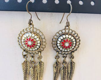 Beautiful Gold Red And White Dangle Dreamcatcher Earrings