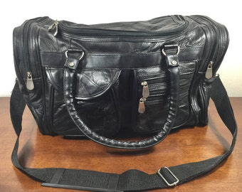 Black Patchwork Leather Duffel Bag