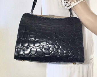 Furla, Black Leather Purse, Bag, Shoulder Bag, 1960s, Made in Italy