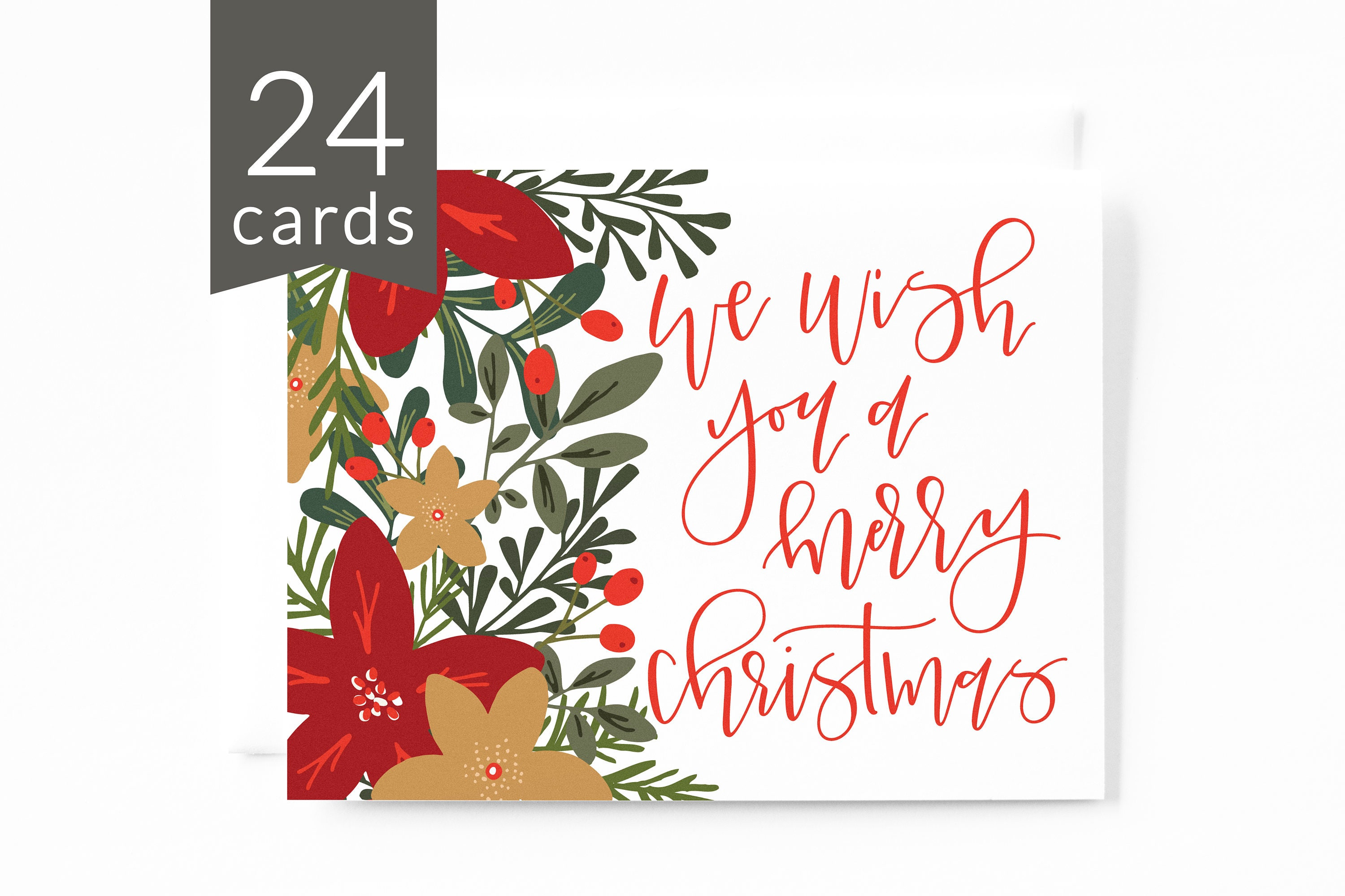 Christmas card set of 24 hand illustrated floral holiday card set christmas card set of 24 hand illustrated floral holiday card set with hand lettered calligraphy m4hsunfo