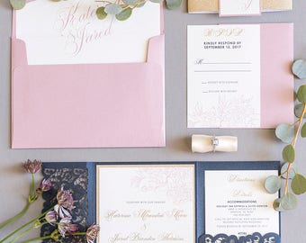 SAMPLE Elegant Formal Navy Blue, Gold Glitter and Blush Lace Laser Cut Pocket Wedding Invitation, Belly Band & Inserts. Diff Colors Avail