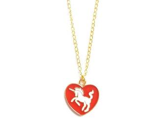 Unicorn Necklace, Unicorn, Unicorn Jewelry, Unicorn Heart Charm, Heart Charm, Unicorn Charm, Unicorn Heart, Be a Unicorn