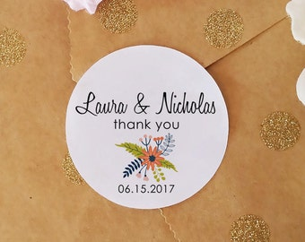 Wedding Favor Stickers, Custom Name Stickers, 45 Thank You Stickers, 1.5'' Round Stickers