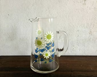 Vintage Glass Pitcher with Daisies