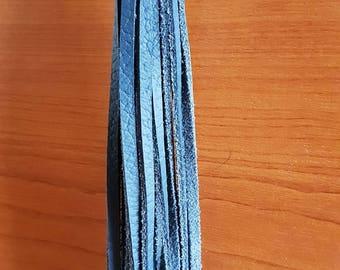 Dark Blue Long Leather Tassel Keychain Fob Handbag Accessory