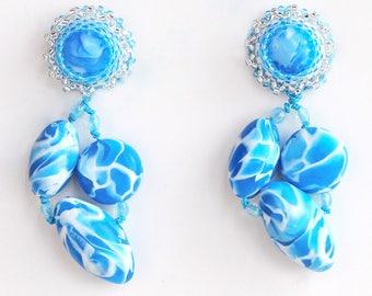 Earrings Novelove #Cluster earrings turquoise and white# pendants handmade #earrings for summertime #beadedearrings well crafted#madeinItaly
