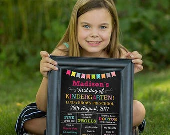 First day of school Chalkboard sign, First day of Kindergarten sign, Kindergarten School Chalkboard poster, 1st day Back to School Sign
