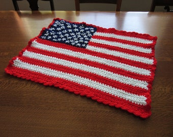 Vintage Crochet American Flag Chair Back Shawl, Cover, Scarf; Small Patriotic Throw, Lap Cover, Red White Blue, Veterans Gift, Military, USA