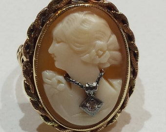 10 k yellow gold cameo antique ring