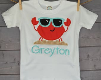 Personalized One Cool Crab with Sunglasses Applique Shirt or Onesie Boy or Girl