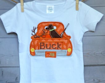 Personalized Hunting Dog in Truck Deer Applique Shirt or Onesie for Boy or Girl