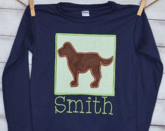 Personalized Big Dog Applique Shirt or Onesie Girl or Boy