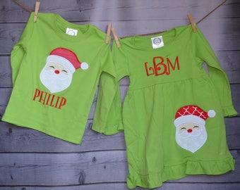 Santa Claus Applique Shirt or Onesie Boy or Girl