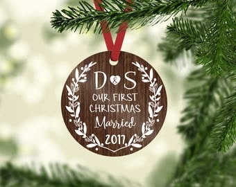 married ornament / Christmas ornament / personalized / wedding ornament / initial ornament / first Christmas / our first Christmas  gift tag