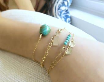 Layered Turquoise Bracelet Turquoise Layering bracelets Fancy Chain Bracelet 14k gold Personalized Initial Bracelet Natural Turquoise gift