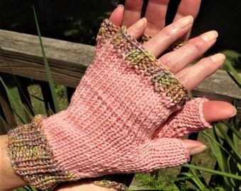 Fingerless Gloves Hand Knit Ladies' Coral Pink Gloves W/Variegated Cuffs Merino Wool Fingerless Hand Warmers Coral Pink Fingerless Gloves