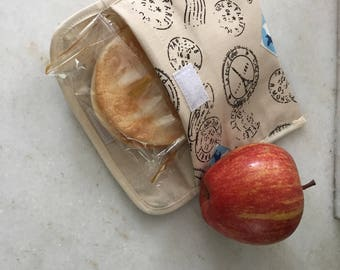 Snack pouch, fabric snack baggies, reusable snack bags, cotton snack on the go bags, school snack bags, handmade snack bags, back to school