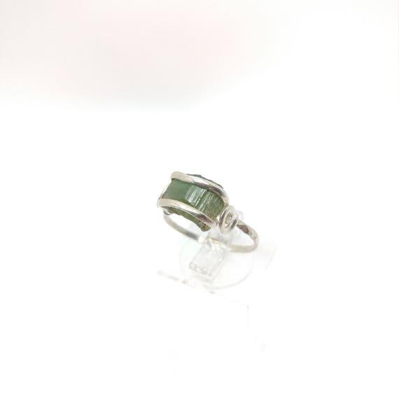Green Tourmaline Crystal Ring   Sterling Silver Ring Sz 6.75    Rough Tourmaline Ring   Raw Tourmaline   Uncut Gemstone   October Birthstone