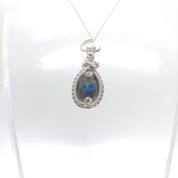 Blue Flash Labradorite Pendant Necklace | Sterling Silver Wire Wrap Necklace | Rose Cut Gemstone | Labradorite Necklace for Woman