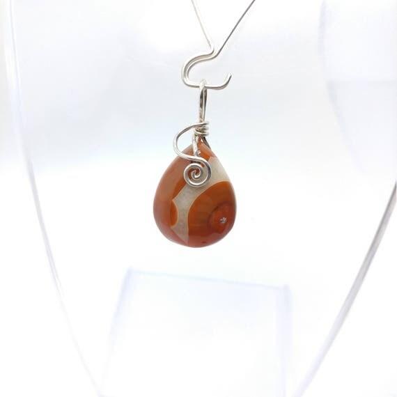 Red Stone Pendant Necklace | Carnelian Agate Pendant | Sterling Silver Pendant | Semiprecious Gemstone Pendant | Simple Stone Drop Pendant