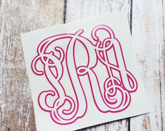 Two Color Monogram Decal | Double Layer Monogram Decal | Monogram Decal | Double Layer Vinyl Decal | Monogram Sticker | Two Color Yeti Decal