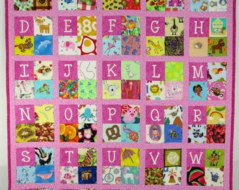 Embroidered Alphabet & Number I Spy Quilt, Girl's I spy quilt Quiet Time Quilt Baby Quilt Tummy Time Play Mat Learn letters and numbers