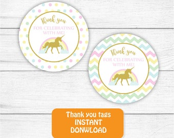 Printable Unicorn Thank you Tag, Gold Rainbow Unicorn Thank you tag, Unicorn Birthday Favors, 2 inches Round Thank You Tags INSTANT DOWNLOAD