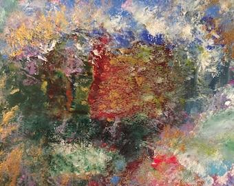 "Abstract Original Painting, Watercolor Acrylic Modern Art, 6"" x 9"" Contemporary Home Decor, Gift Idea"