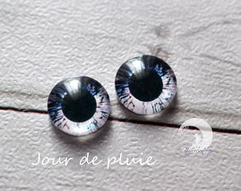 Iridescent Eyechips for Pullip glass - size 13mm - rainy day - NEW!