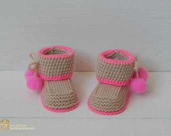 Soft and cuddly hand-knitted Baby Booties. Perfect for baby girl. Infant shoes. Crochet baby booties. Pregnant announcement