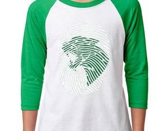Youth Panther Print Raglan - School Spirit - Panthers - Unisex 3/4 Sleeve Green/White Baseball Tee