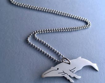 Humback whale solid sterling silver necklace