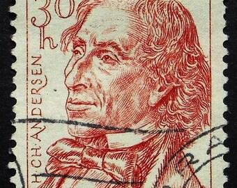 Hans Christian Andersen 1805-1875, Author -Handmade Framed Postage Stamp Art 22410AM