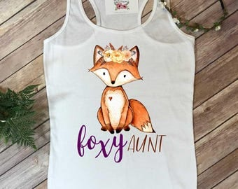 Foxy Aunt, Aunt and Me shirts, Auntie and Me Outfits, Baby Shower Gift, Auntie Shirt, Aunt Shirts, Fringe Top, New Aunt Gift, Family Shirts,