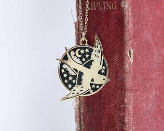 Enamel Bird Necklace, Gold Swallow Pendant