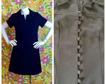 60s 70s Vintage Black Mod Mini Dress Medium Large