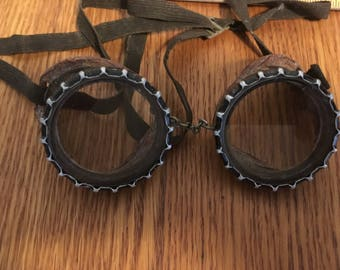 Vintage Steampunk Motorcycle Welding or Sun Glasses with Leather Sides Wilson Safety Glasses Steam Punk Glasses