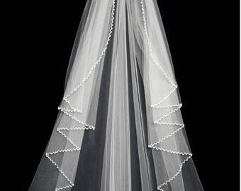Pearl and Crystal Beaded Edge Cascade Style Fingertip Wedding Veil Bridal Veil