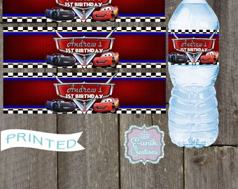 Cars, Lightning Mcqueen, Jackson. Water Bottle Lables-Printed