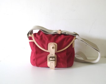 UPLA Paris Small red cotton and leather Satchel shoulder messenger cross body bag