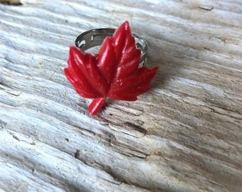 Resin Canadian Flag Maple Leaf Ring \\ Canadian Jewelry \\ Silver Ring