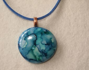 20% SALE  Light Blue and Turquoise Circle Pendant & Necklace - Alcohol Ink Colors