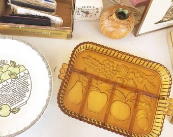 Amber Glass, Indiana Glass Divided Serving Dish