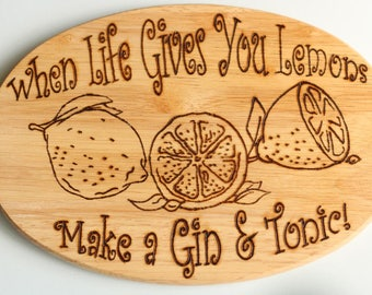 Gin & Tonic Lemon Chopping Board