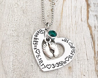 Gift for First Time Mom - Push Present - Birthday Gift for New Mom - Baby Birth Stat Gift - Necklace for Mom - Personalized Mom Jewelry