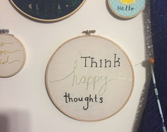 Think happy thoughts, embroidery wall art ,nursery art, disney, peter pan, embroidery hoop, nursery , gifts under 20