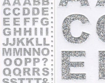 55 straight letters glitter stickers
