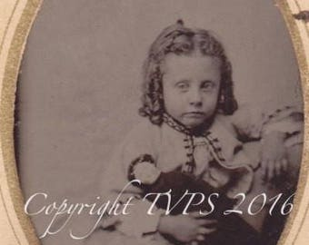 Antique Tintype Photo Civil War Era Child with Doll