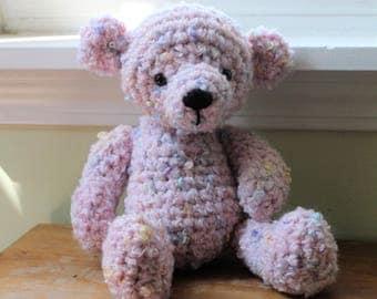 RTS Pink Teddy Bear, Crochet Animal, Photo Prop, Baby Girl Shower Gift, Amigurumi Bear, Stuffed Animal, Ready to Ship,