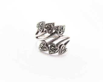 Vintage Sterling Marcasite Crossover Heart Ring Size 9